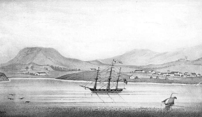 old view of santa barbara harbor